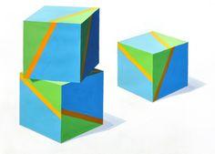 「2本の平行線で分割彩色された面を持つ三つの立方体が白い平面上に置かれ、左上方から光が当っている状態を彩色して表現しなさい。 ただし、立方...