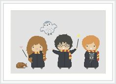 Counted Cross Stitch Pattern Harry Potter Harry Ron Hermione Gryffindor Needlecraft PDF Format Instant Download X089 by Xrestyk on Etsy https://www.etsy.com/listing/275207172/counted-cross-stitch-pattern-harry