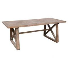 """Perfect for gathering friends and family for farm-fresh dinners or a lovely Sunday brunch, this classic dining table features an elm wood frame and a natural finish.  Product: Dining tableConstruction Material: Elm wood and ironColor: NaturalDimensions: 30"""" H x 79"""" W x 39"""" D"""