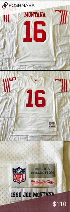 """Joe Montana SF 49ers Mitchell & Ness vintage Pre-owned 9/10 condition due to minor stain from inside the jersey that can easily be dry cleaned. Hardly worn in a smoke free and pet free home. 100% authentic. This high quality heavier fabric, with diamond mesh includes """"breathable"""" poly mesh. This official licensed jersey proudly displays the sewn on single layer tackle twill grapics including the name and number. Size Med (runs a lil big). Manufactured by Mitchell & Ness. Mitchell & Ness…"""