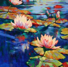 2012 - Donna Young Fine Art and Oil Paintings Oil Painting Flowers, Oil Painting On Canvas, Watercolor Flowers, Watercolor Paintings, Original Paintings, Oil Paintings, Water Lilies Painting, Blue Painting, Environmental Art