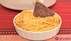 Slow Cooker Cheesy Chicken Enchilada Dip - seriously the best.dip.ever!!! #crockpot #recipe - www.GetCrocked.com