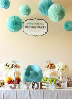 Blue 100th Day Party Deco / Korean Baek-il