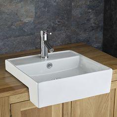Amora 46 5cm X 46cm Semi Recessed Square Inset Countertop Washbasin