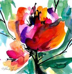 Floral 8 - Original Contemporary Abstract Flower Watercolor Painting by Kathy Morton Stanion EBSQ