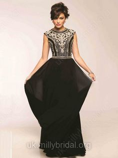 A-line Scoop Neck Chiffon Floor-length Beading Prom Dresses -GBP�116.89