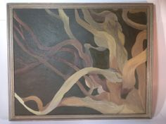 Vintage Abstract Oil Painting Beautiful Colors in Wood Frame