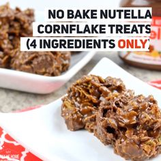 No Bake Nutella Cornflake Treats 4 Ingredients Only Paleo, Keto, Frugal Meals, Quick Easy Meals, Frugal Recipes, Chocolate Cornflake Cakes, Cornflake Cookies No Bake, Granola, Tray Bake Recipes