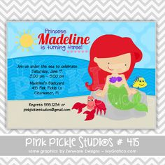 Mermaid & Friends Personalized Party Invitation-personalized invitation, photo card, photo invitation, digital, party invitation, birthday, shower, announcement, printable, print, diy,