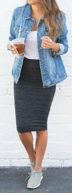 keep it casual wearing a midi skirt