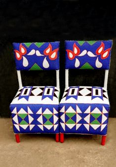 Handbeaded from top to bottom by the Yoruba people from Nigerial.  These are occasional chair but they will look equaly amazing as dining chairs.  Other patterns can be requested or sold colours.