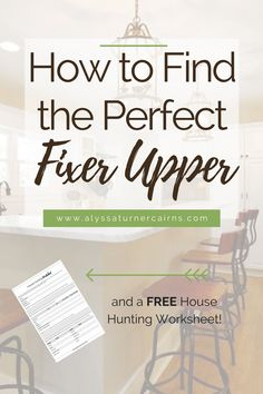 Are you ready to start your house search to find your own fixer upper?  Congrats! Here is a list of important qualities to consider when you are  house hunting, and a FREE House Hunting Worksheet to help you keep track of  it all!