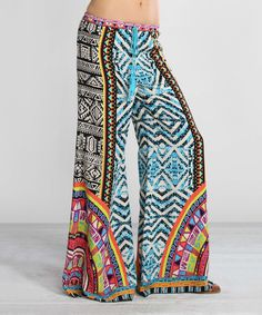 Look at this #zulilyfind! Blue & Black Geometric Palazzo Pants by Flying Tomato #zulilyfinds