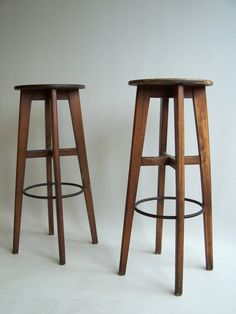 French 1950's bar stools in the style of Pierre Jeanneret image 2