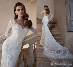 Backless Wedding Dresses 2015 Charming Scoop Long Sleeve Organza with Applique Embroidery Bridal Gowns Tarik Ediz Wedding Dresses 2015 from Yate_dress,$155.87   DHgate.com