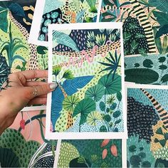Lotssssss of patterned jungle paintings; I will never get bored of paintings plants. Not sure whether or not to add these animal-less paintings to my shop? ✂️