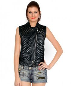Stylish Womens #Embellished Leather Waistcoat - This womens studded #leather waistcoat with different feature sheer leather jacket,all over diamond quilting and off-center zipper compliments the latest trends of the #fashion world.