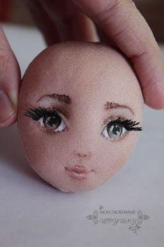 Create a face textile doll - Fair Masters - handmade, handmade Sock Dolls, Felt Dolls, Rag Dolls, Crochet Dolls, Doll Sewing Patterns, Sewing Dolls, Doll Crafts, Diy Doll, Doll Face Paint