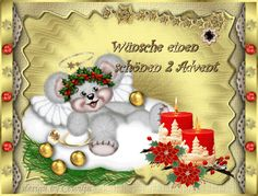 2. Advent Gästebuch Bilder - kuschligen-2-advent.gif - GB Pics Photo Frame Design, Merry Christmas, Christmas Ornaments, Candles, Holiday Decor, Pictures, Florence, Humor, People