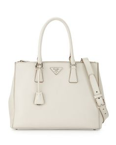 City Calfskin Bicolor Double-Zip Galleria Tote Bag, Caramel/Orange ... - prada galleria bag papaya / maple