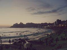 dusk rio brazil beach