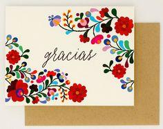 Destino boda tarjetas de agradecimiento - Gracias - colorido bordado mexicano inspirado – verano boda tarjeta (Suite de Rachel)