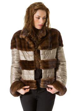 chaqueta de vison combinada con guata de anorak con puños de vison 2 ret