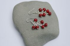 Maroon Glass Bead Cluster Earrings