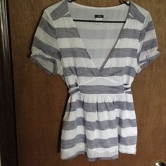 """Blue/Gray and white striped tie back blouse Flattering tie back blouse that flatters the waist,   Stripes are blue and gray mix and white, material is smooth but has a nice textured look, see second pic, will fit up to 40"""" bust, length is 24"""" J. Crew Tops Blouses"""