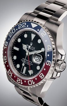 The latest Rolex GMT-Master II is equipped with a red and blue Cerachrom bezel, a colour combination long considered impossible to make in ceramic. It combines the best in high-tech performance – virtually scratchproof, resistant to corrosion and colour-fading – with the iconic look of the original 1955 model.