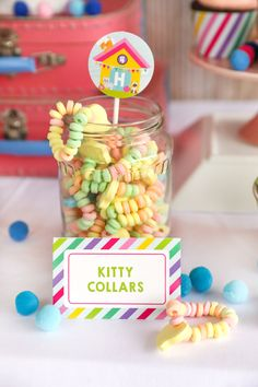 Featured Party: Hannah's Purr-fect Kitty Adoption Party - Sunshine Parties - The Best Cat Party Ideas 6th Birthday Parties, Birthday Party Decorations, 9th Birthday, Planning Board, Party Planning, Kitten Party, Party Food Labels, Adoption Party, Puppy Party
