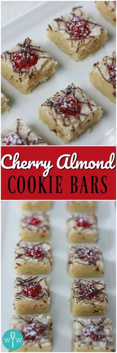 Cherry Almond Cookie Bars - A light shortbread crust topped with a luscious almond filling, candied red cherries, and creamy milk chocolate.