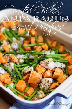 A delicious, quick, easy, and healthy weeknight meal of Roasted Chicken with Asparagus, and Sweet Potatoes.