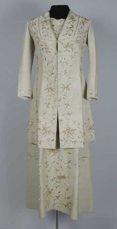 1910-1912 embroidered beige silk walking dress (with matching jacket) by Ms. Lewis Leonard Humason, American (California).