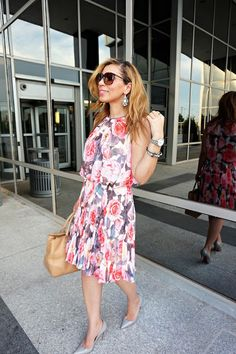 Maggie london floral pleasted dress, grey pigalle, christian louboutin heels, pleated dress, summer style, tory burch bag, nude and grey, preppy, garden party, easter outfit, michael kors sunglasses
