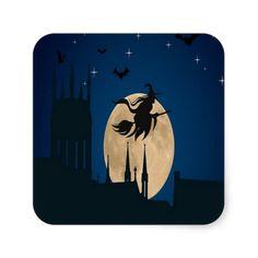 Halloween Night Square Stickers