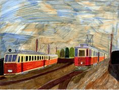 'Historical narrow gauge tram and normal gauge tram in Ostrava' by Lorenzo-CZ Canvas Prints, Framed Prints, Art Prints, Gauges, Art Boards, Decorative Accessories, Travel Mug, Cities, Art Ideas