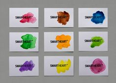 Logo and bright watercolour business cards for design agency Smartheart. Corporate Identity Design, Brand Identity, Logo Branding, Branding Design, Logo Design, Visual Identity, Print Design, Studio Logo, Fitness Logo