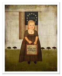Patriotism Americana Folk Art 11x14 print by MarysMontage on Etsy, $25.00
