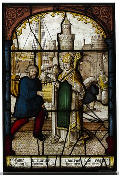 Glass Panel of Saint Nicholas by Jacob Cornelisz, Medieval Art Medium: Pot-metal glass and vitreous paint Bequest of Isaac D. Fletcher, 1917 Metropolitan Museum of Art, New York,. Medieval Stained Glass, Stained Glass Angel, Faux Stained Glass, Sculpture Art, Sculptures, Renaissance Kunst, Medieval Art, Medieval Times, Palette