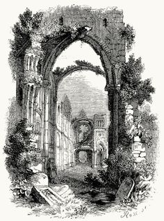 Gothic church of Zsámbék.  From La Hongrie ancienne et moderne (Ancient and modern Hungary), by  J. Boldényi, Paris, 1853.  (Source: archive...