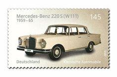 MERCEDES-BENZ 220S (W111) Mercedes 220, Porsche 911 Targa, Ford Capri, German Stamps, Postage Stamp Collection, Mobile Art, Benz S, Car Posters, Stamp Collecting