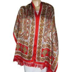 Mode femme - Foulard rouge en satin de soie motifs indiens peints à la main - 55 cms x 182 cms ShalinIndia, http://www.amazon.fr/gp/product/B0065WLNXU/ref=cm_sw_r_pi_alp_Hwoerb0VCY5NH