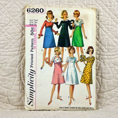 Teen Girls Dress, Simplicity 6260 Pattern, FREE SHIP, Cut and Complete, Empire Waist, Round Neck, Back Zipper, 1965, Size 14, 3-oz by DartingDogPatterns on Etsy