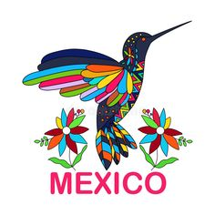 Hummingbird Sketch, Hummingbird Tattoo, Mexico Tattoo, Mexican Paintings, Mexican Flowers, Painted Hats, Mexico Art, Stained Glass Birds, Mexican Designs