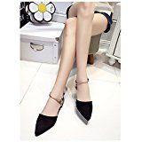 Spritech(TM) Women Girl Summer Flat Shoes Point Toe Faux Suede Upper Metal Closed Sandal Black 36