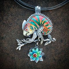 This one's a good one. Chameleon pin/pendant. Also made to take to Artisphere…                                                                                                                                                     More