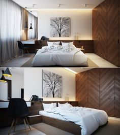 Bedroom:Charming And Nature Themed Bedroom With Wooden Beds Set With White Cushions Also Bedding With Pendant Light Also Tree Painting Also Black Chair Curtains Also Wooden Cupboard And Marble Floor Some Ideas of Modern Bedroom Design to Inspire You