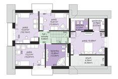 Rzut Dom przy Cyprysowej 15 K4 CE Architectural House Plans, Micro House, Design Case, Jacuzzi, Floor Plans, House Design, Flooring, How To Plan, Home Decor