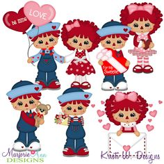 Sweetheart Raggedies SVG-MTC-PNG plus JPG Cut Out Sheet(s) Our sets also include clipart in these formats: PNG & JPG